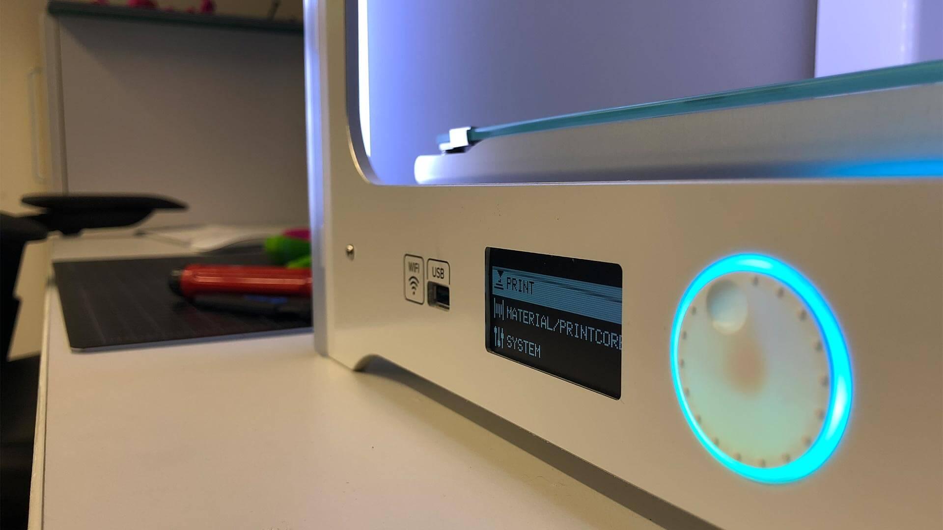 Closeup of Ultimaker 3D printer
