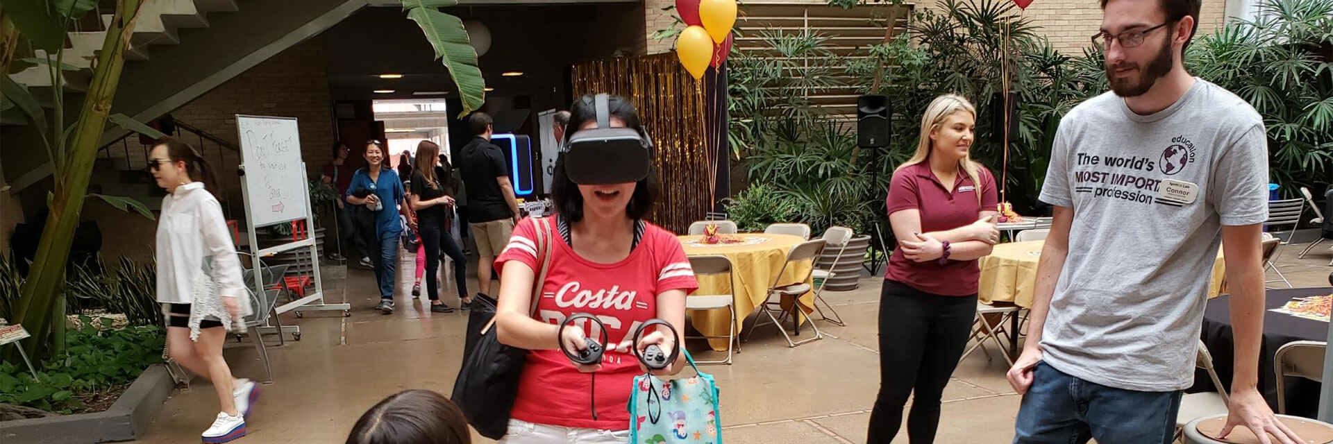 A woman having fun with VR goggles on